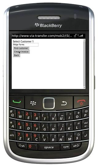 BlackBerry create invoice