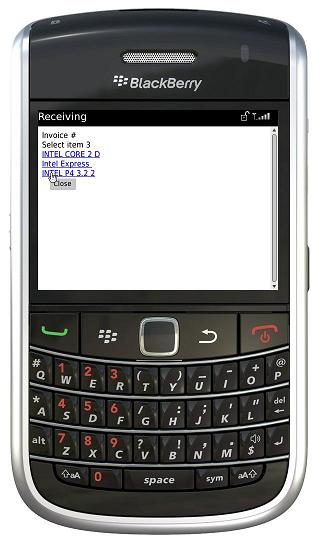 BlackBerry select item