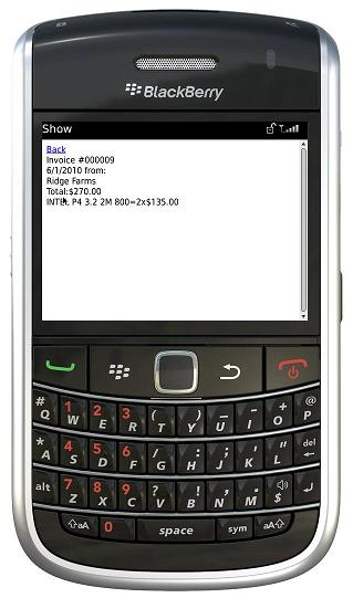 BlackBerry fill out invoice