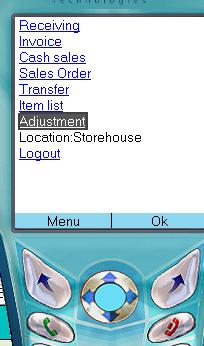 main menu Mobile Inventory system software