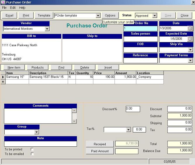my company inventory database to create new purchase order