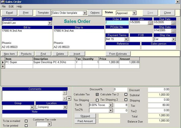 New Sales Order Golden Inventory Software System